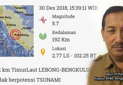 Imformasi gempa bumi Minggu 30 Desember 2018